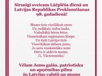 Sveiciens Latvijas Valsts svētkos no Rīgas Latviešu biedrības