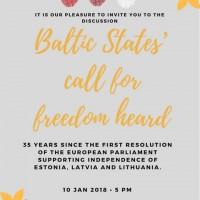 Ielūgums uz pasākumu Eiropas Parlamentā, atceroties pirms 35 gadiem pieņemto pirmo EP rezolūciju Igaunijas, Latvijas un Lietuvas neatkarības atbalstam