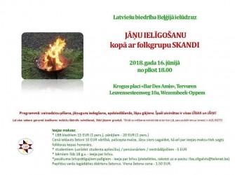 Latviešu biedrība Beļģijā ielūdz Jūs uz JĀŅU IELĪGOŠANU kopā ar folkgrupu SKANDI – 16.06.2018